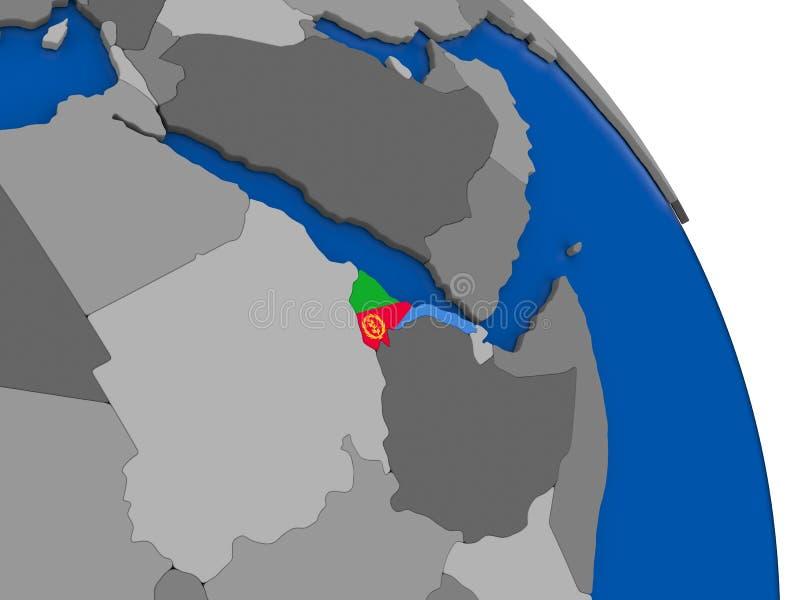 L'Érythrée et son drapeau sur le globe illustration libre de droits