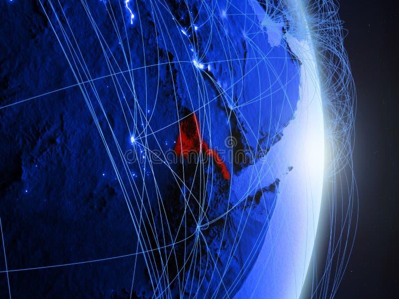 L'Érythrée sur la terre numérique bleue bleue photographie stock