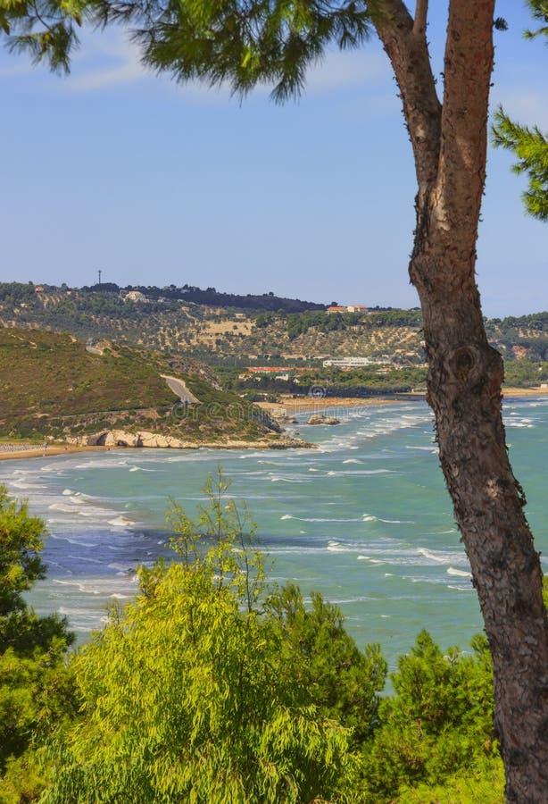 L'été détend Les côtes les plus belles de l'Italie : baie de Vieste - Pouilles, Gargano - photographie stock libre de droits
