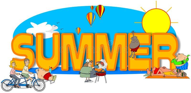 L'été de mot illustration de vecteur
