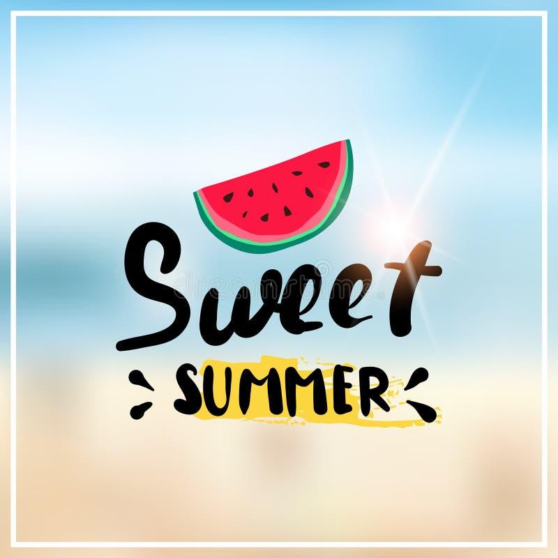 L'été de pastèque a brouillé des vacances de saison de vacances d'insigne de conception de cadre de fond de plage de bokeh de mer illustration stock