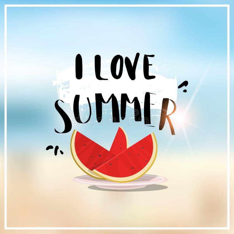 L'été de pastèque a brouillé des vacances de saison de vacances d'insigne de conception de cadre de fond de plage de bokeh de mer illustration libre de droits