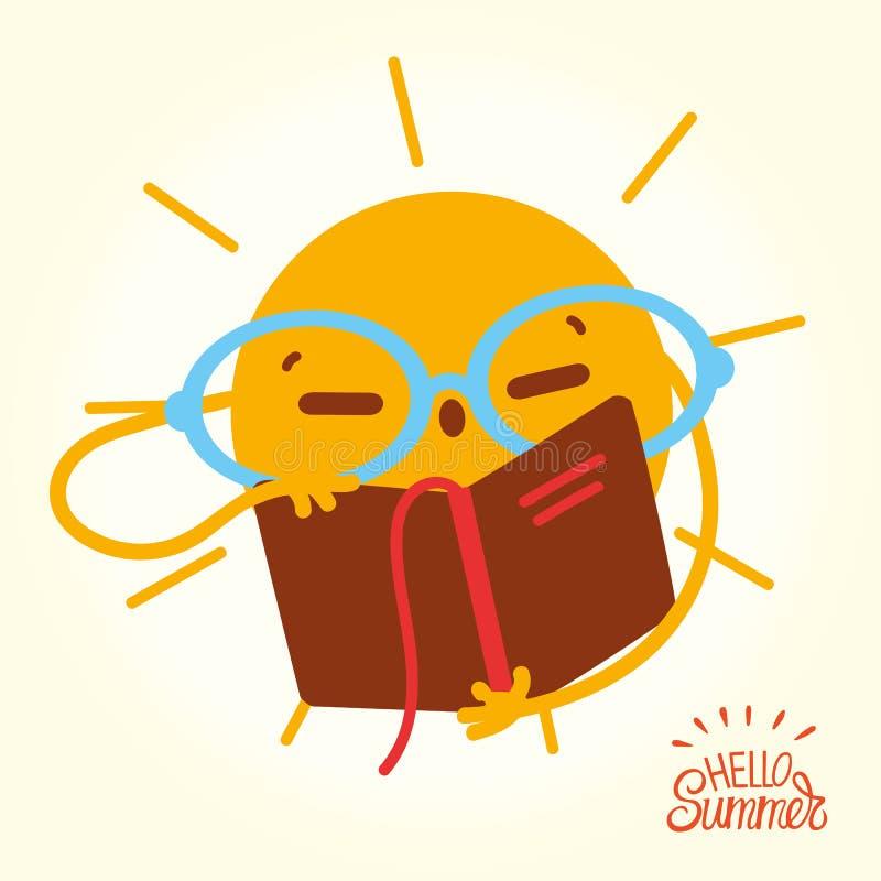 L'été heureux Sun font face aux livres et à la lecture ouverts illustration de vecteur