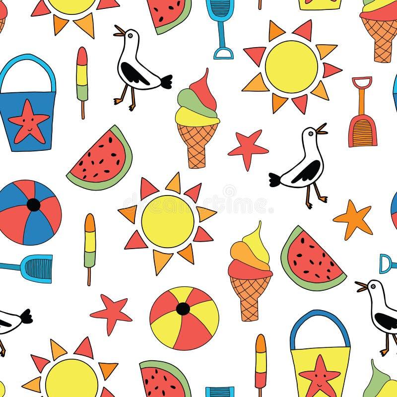 L'été objecte le modèle sans couture de vecteur Seau de sable, pelle, cornet de crème glacée, pastèque, glace à l'eau, boule, mou illustration libre de droits