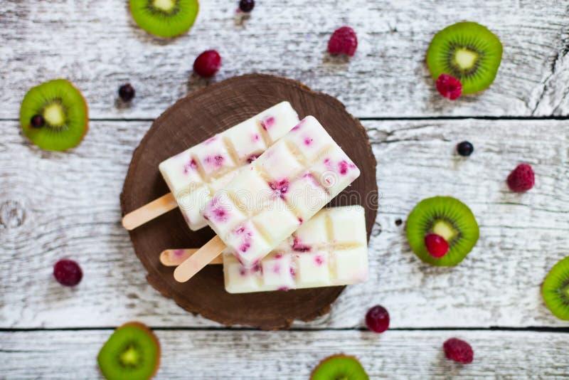 L'été porte des fruits et la sucette faite maison de baie saute la crème glacée  Groupe de photos stock