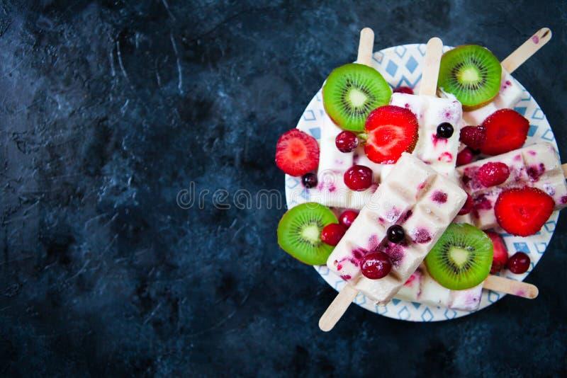 L'été porte des fruits et la sucette faite maison de baie saute la crème glacée  Groupe de photographie stock libre de droits