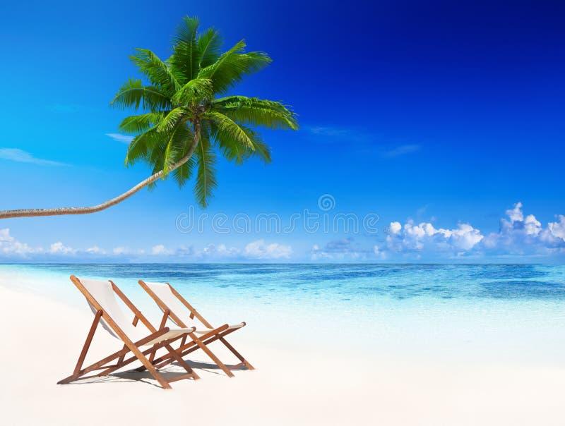 L'été tropical de plage de chaises de plate-forme détendent le concept de vacances image libre de droits