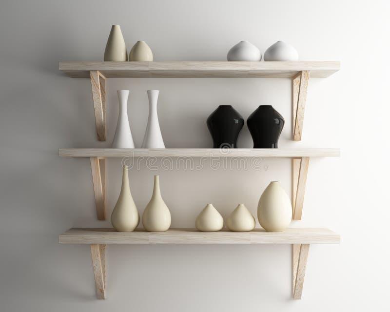 L'étagère en céramique et en bois de vase décorent de l'intérieur illustration de vecteur