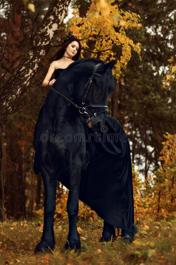 L'étalon noir de Frisian de cavalier dans le cyclone de forêt d'automne regarde tendrement loin avec les yeux à capuchon photo stock