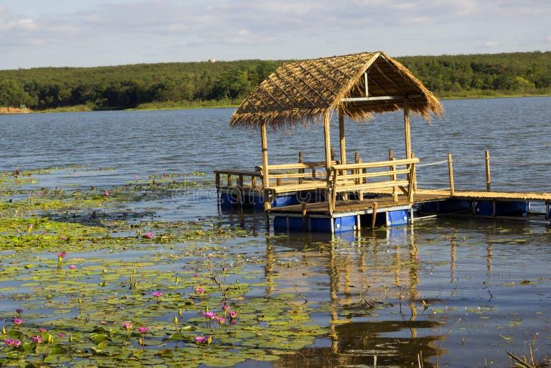 L'étang de Lotus moyen de hutte dans la campagne près du lac photo libre de droits