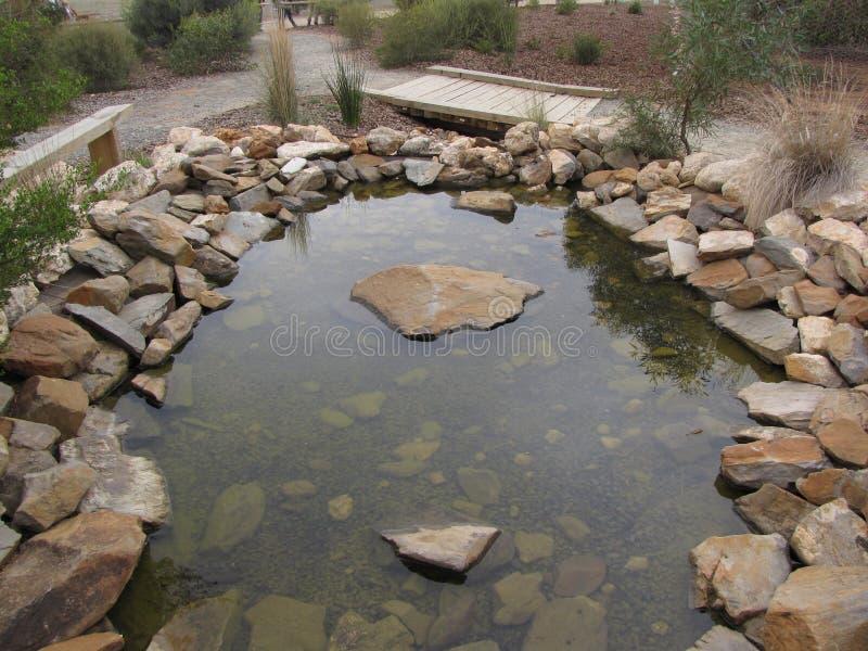 L'étang de marche de roche de traînée dans le zoo Adelaïde de Monarto photo libre de droits
