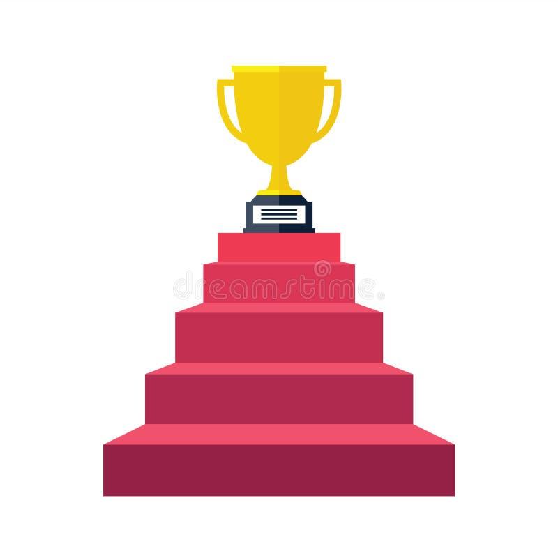 L'étape d'escalier vont au trophée et au succès, gagnant illustration de vecteur
