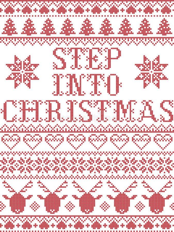 L'étape de modèle de Noël dans le modèle sans couture de chant de Noël a inspiré par l'hiver de fête de culture nordique dans le  illustration stock