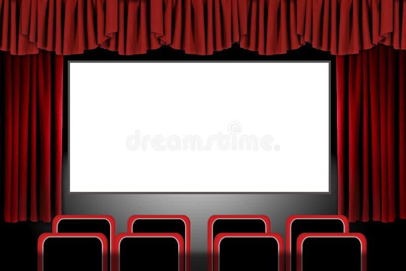 L'étape rouge drape dans une configuration de théâtre de film : Illus illustration de vecteur