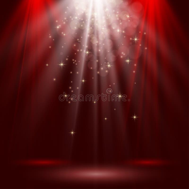 L'étape vide s'est allumée avec des lumières sur le fond rouge illustration libre de droits