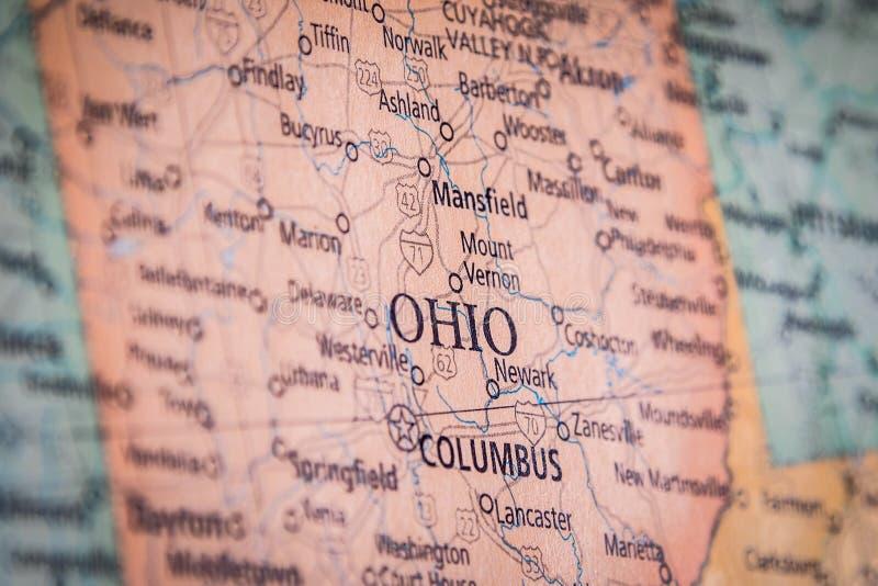 L'État De L'Ohio Sur Une Carte De L'État Géographique Et Politique Des États-Unis photo libre de droits