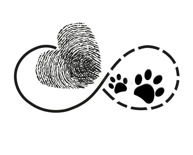 L'éternité avec le coeur d'empreinte digitale et la patte de chien imprime le tatouage de symbole illustration libre de droits