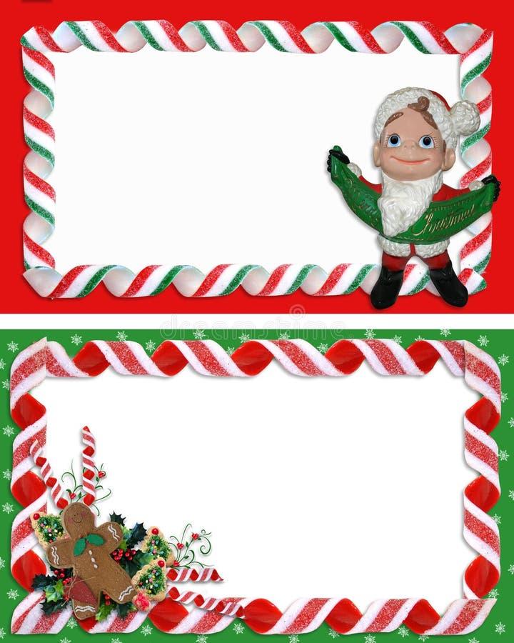 L'étiquette de Noël encadre la sucrerie de bande illustration de vecteur