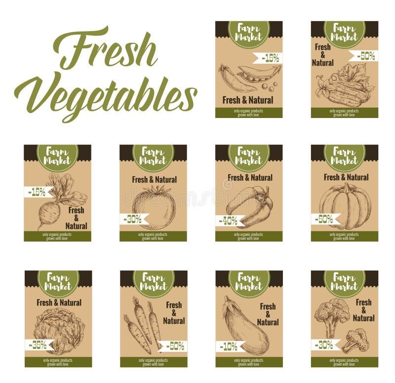 L'étiquette et la ferme végétales lancent des étiquettes sur le marché de veggies illustration libre de droits