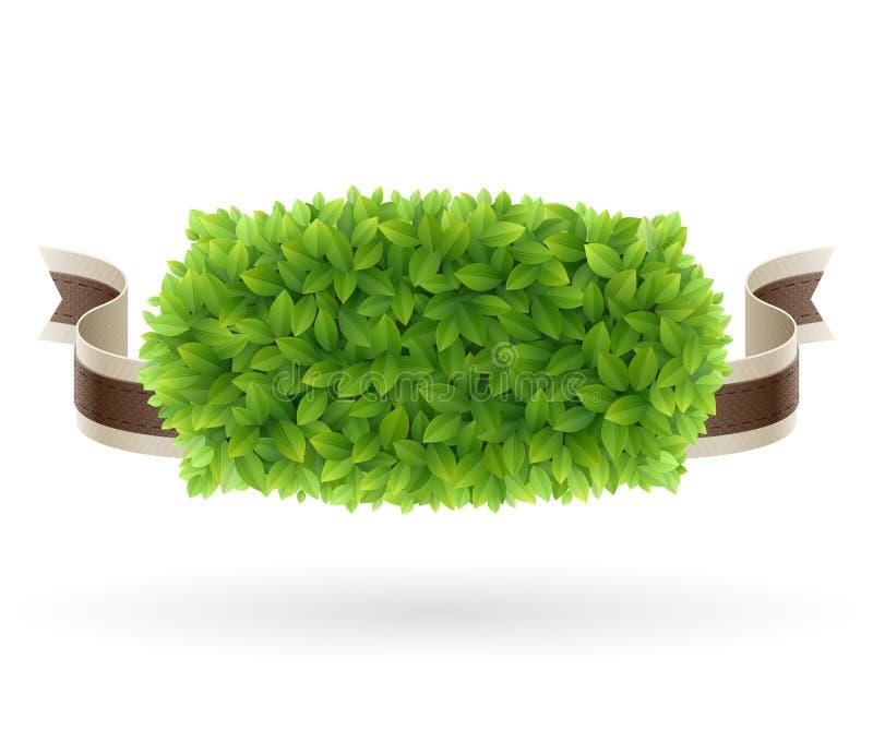 L'étiquette fraîche de ferme avec le vert part de la texture illustration de vecteur