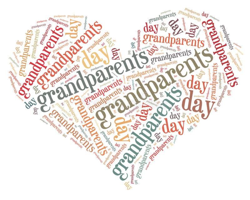 L'étiquette ou le jour de grands-parents de nuage de mot s'est rapportée dans la forme du coeur illustration stock