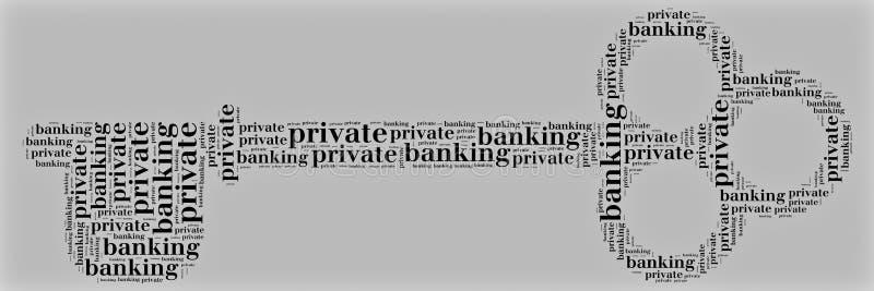 L'étiquette ou le service bancaire aux particuliers de nuage de mot s'est rapportée dans la forme de la clé illustration stock