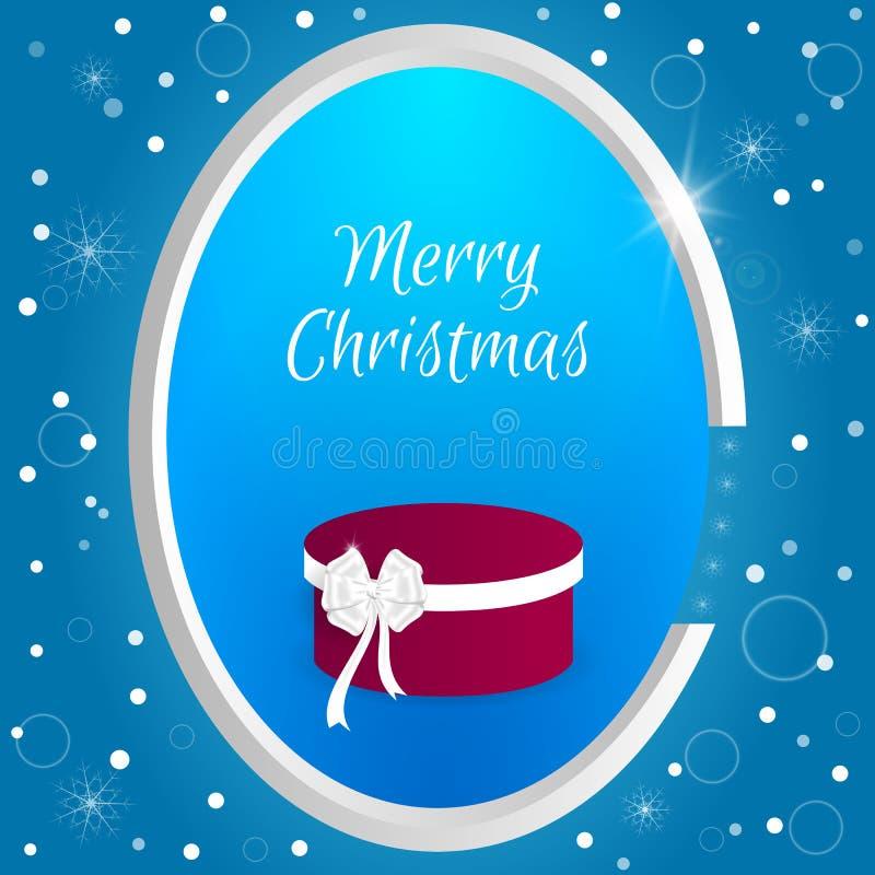 L'étiquette ronde de Noël avec une boîte rouge ronde et le blanc cintrent sur un fond bleu avec des flocons de neige Approprié au illustration de vecteur