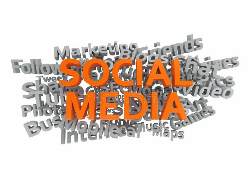 L'étiquette sociale de media exprime le nuage 3d illustration de vecteur