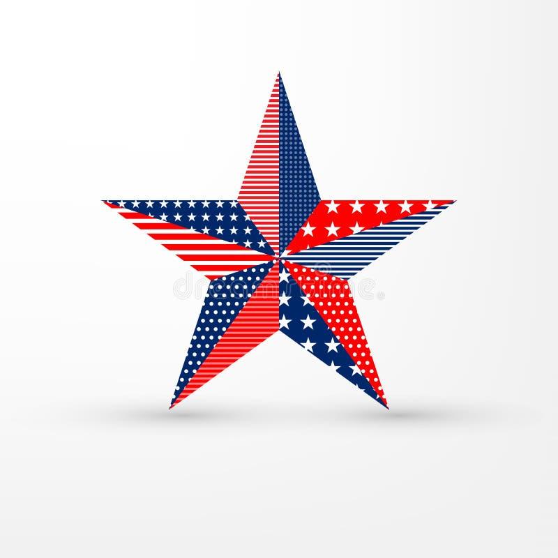 l'étoile Cinq-aiguë sur le fond blanc avec les Etats-Unis marquent le modèle, peut être employée pour la décoration américaine de illustration de vecteur