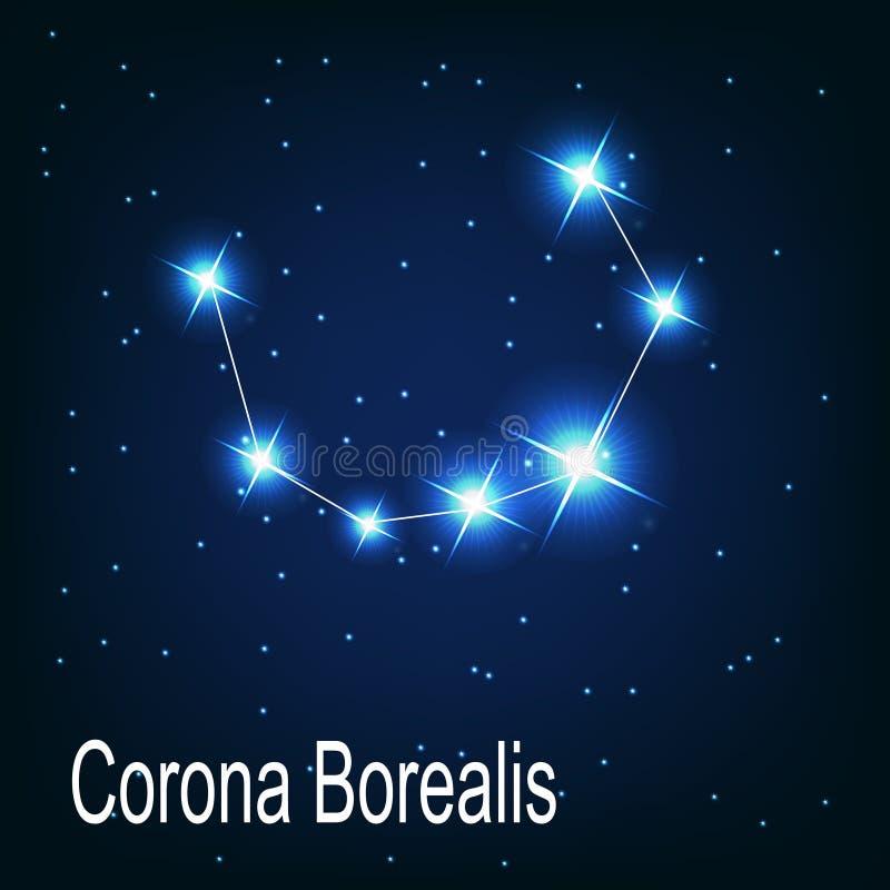 L'étoile de Corona Borealis de constellation dans illustration de vecteur