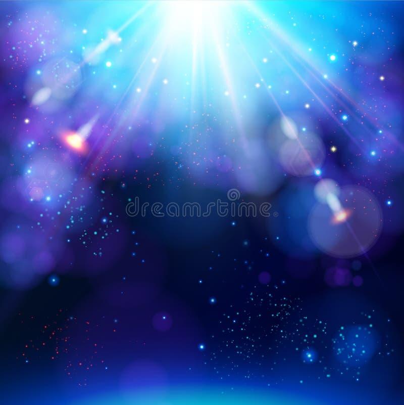 L'étoile de fête bleue de scintillement a éclaté le fond avec une explosion blanche lumineuse dynamique des rayons illustration libre de droits