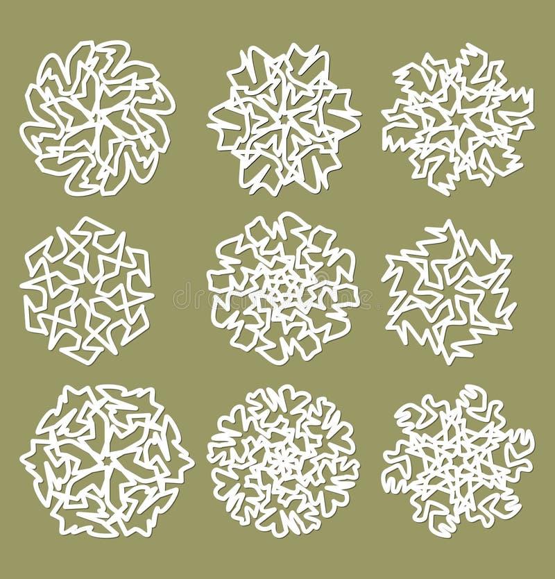 L'étoile géométrique blanche forme, des flocons de neige avec l'ombre fine, ensemble d'éléments de conception illustration libre de droits