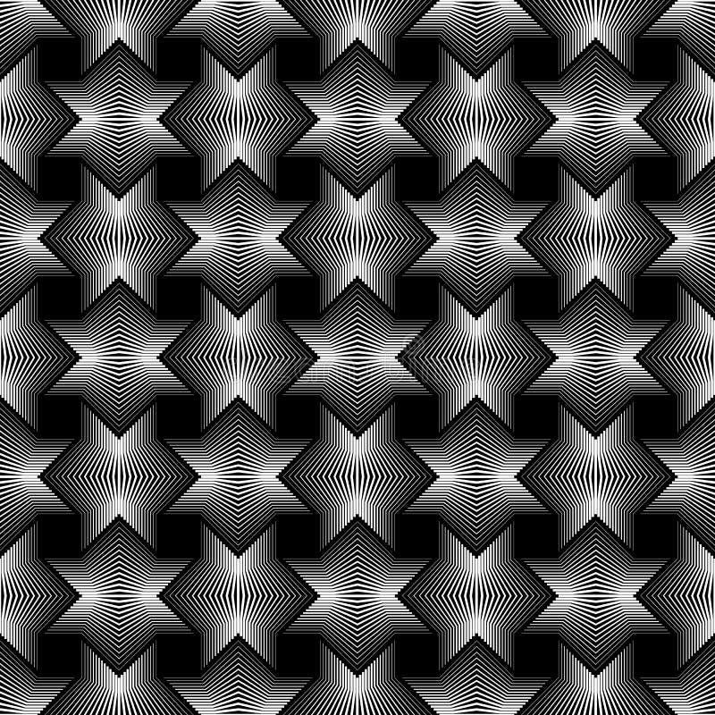L'étoile géométrique raye le fond sans couture de noir de modèle illustration de vecteur
