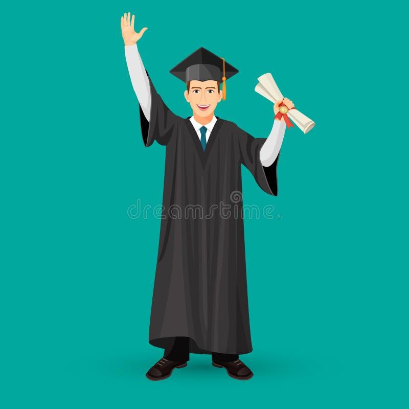 L'étudiant de troisième cycle de degré dans la robe de manteau tient le rouleau d'obtention du diplôme illustration stock