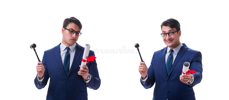 L'étudiant en droit d'avocat avec un marteau d'isolement sur le fond blanc images libres de droits
