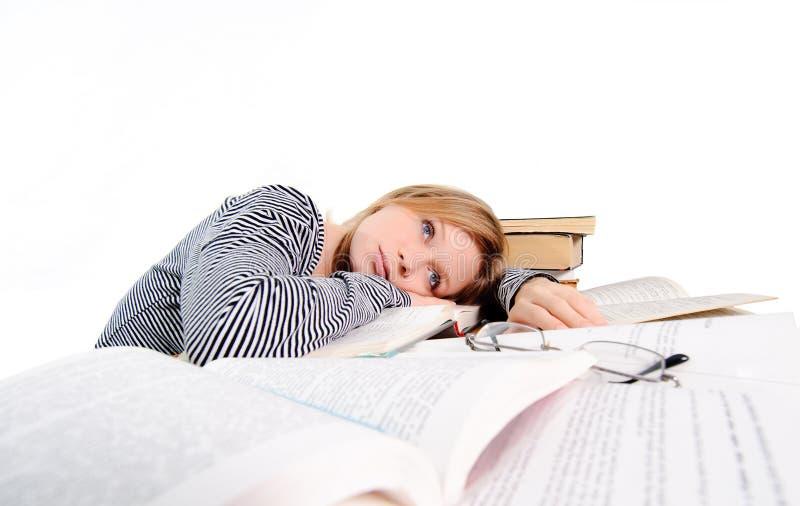 L'étudiant a fatigué de l'étude photographie stock