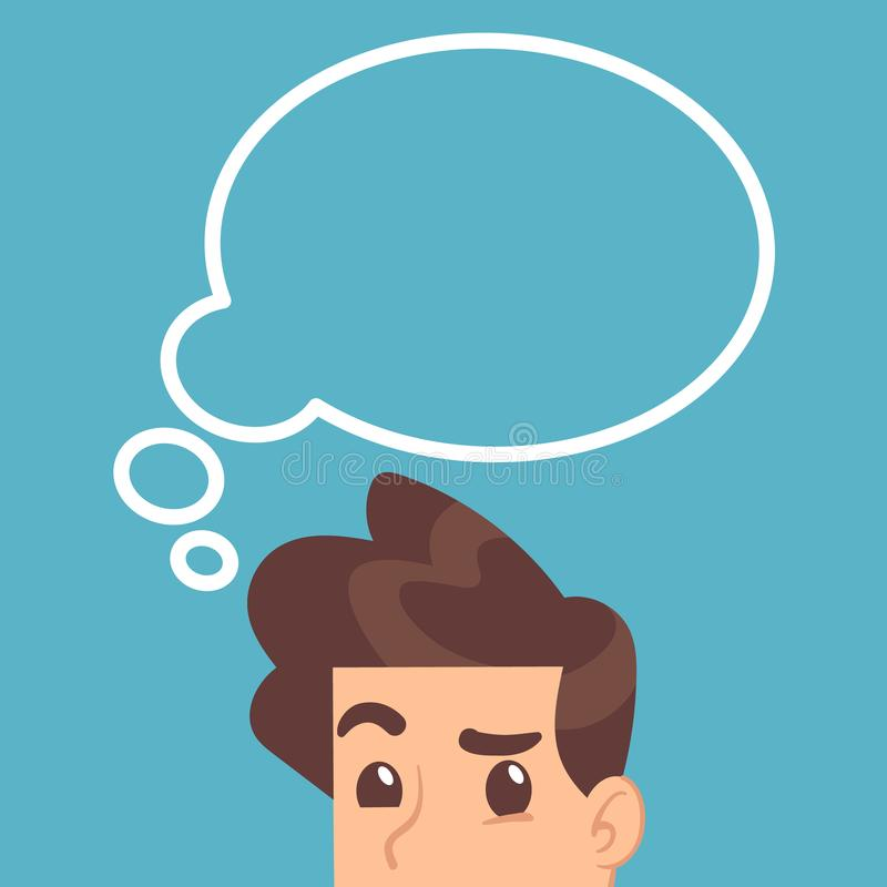 L'étudiant instruit pensant avec pensent la bulle au-dessus de la tête Concept de vecteur d'éducation illustration de vecteur