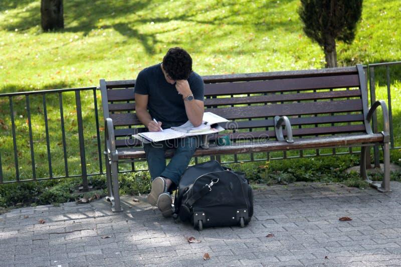 L'étudiant se prépare aux classes sur la rue se reposant sur le banc photos libres de droits