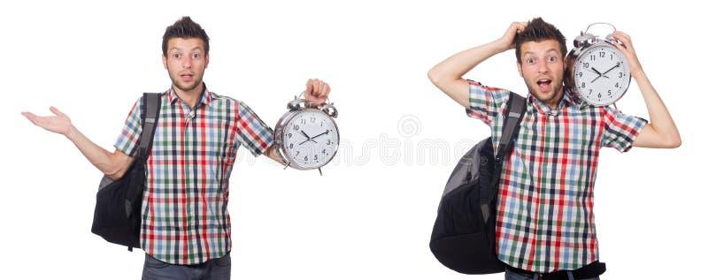 L'étudiant tard pour cette préparation à l'examen photo libre de droits