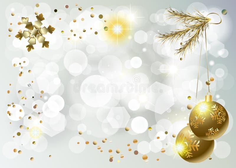 L'événement Bokeh de Noël de bonne année de vacances d'hiver 2019 allume la CARTE d'or de décoration illustration de vecteur