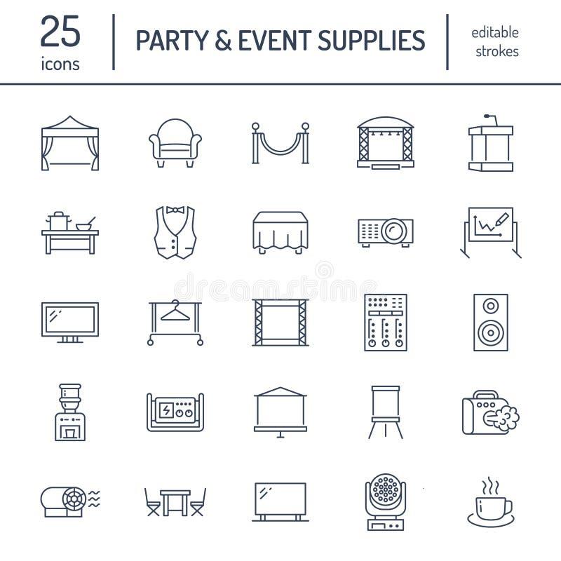 L'événement fournit la ligne plate icônes Équipement de partie - présentez les constructions, projecteur visuel, support, flipcha illustration stock