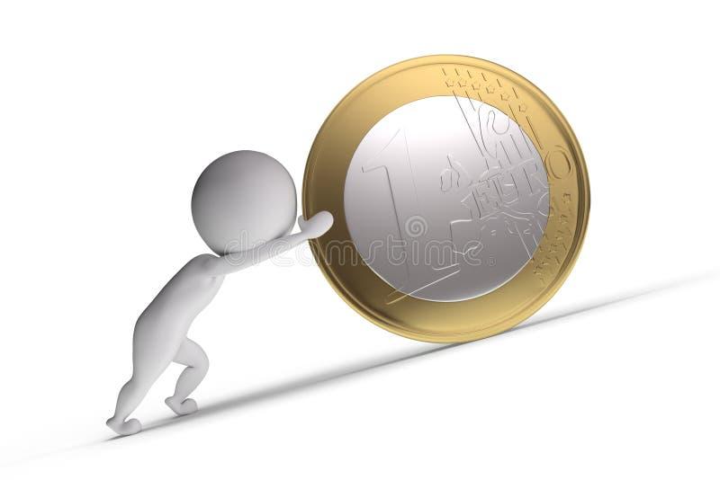 l'être humain 3d pousse une grande pièce de monnaie illustration stock