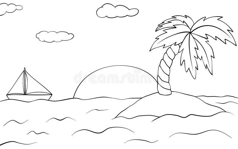 L'Île déserte avec le palmier et le bateau Horizontal de coucher du soleil d'?t? Illustration d'ensemble de vecteur Livre de colo illustration stock