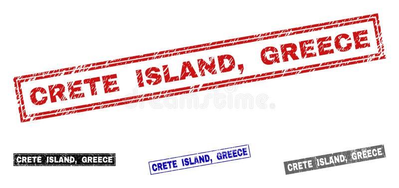 L'ÎLE de CRÈTE grunge, GRÈCE a donné à des joints une consistance rugueuse de timbre de rectangle illustration stock