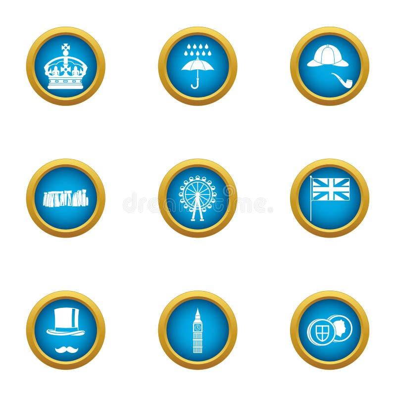 L'île des icônes de la Grande-Bretagne a placé, style plat illustration de vecteur