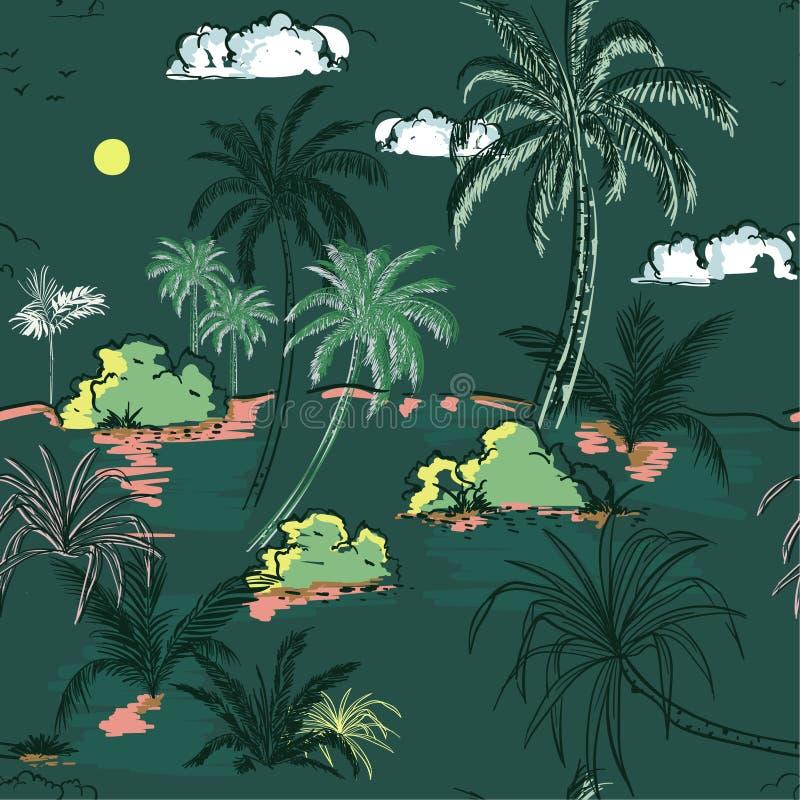 L'île et les palmiers de vintage remettent la ligne de croquis de dessin dans le seamle illustration libre de droits