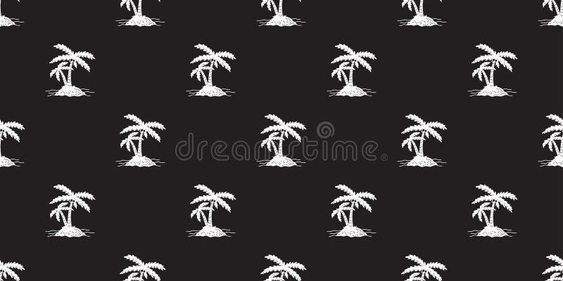 L'île sans couture de vecteur de modèle de paume d'arbre de noix de coco a isolé le blanc de fond de papier peint d'icône illustration de vecteur