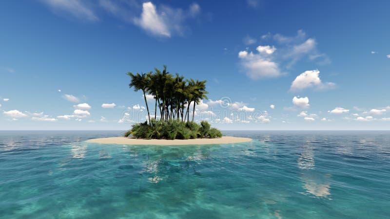 L'île tropicale dans l'océan 3D rendent photos stock