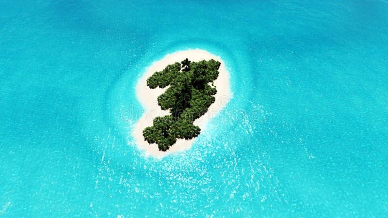 L'île tropicale isolée 3D rendent photo stock