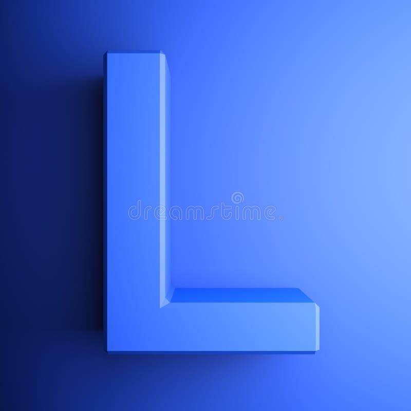 L синь алфавитного письма, изолированная на голубой предпосылке - иллюстрации перевода 3D иллюстрация штока
